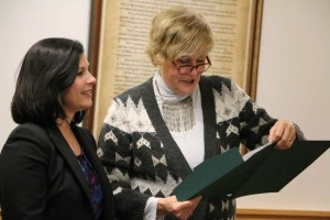 Hunterdon Freeholder Director Suzanne Lagay (right) presents to Laura DePrado a proclamation on Feb. 16 recognizing the third full week of March as Horticultural Therapy Week in Hunterdon (Sallie Graziano | For NJ.com)